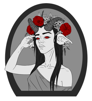 Inktober #26 + #27 - Devil chick and flower crown by Vixie-Mnsv