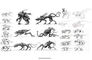 Alien Race Creature Ideation by ZeroNis