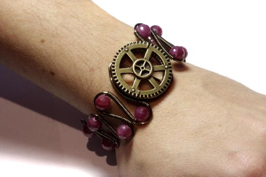 Steampunk Ruby Bracelet by CatherinetteRings