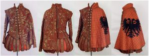 Red + Gold Renaissance Doublet and Cape by paedess