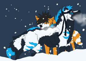 Wolves and Snow by Hukkahurja