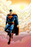 Superman in sky evening color by cehnot