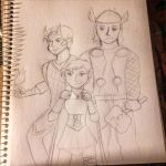 Thor, Teen Loki and Erika by AbbyCatWolff
