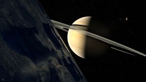 Saturn from Dione by Drell-7