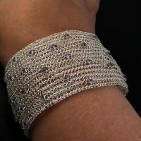 Wide wire knit bracelet with crystals by CatsWire