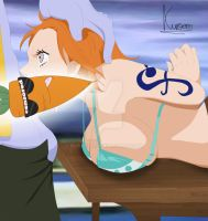 One piece: nami and arlong, sumbission! censored by kuroero
