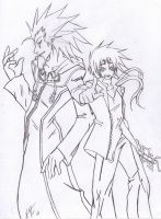 axel and reno LINEART by Foxysuji