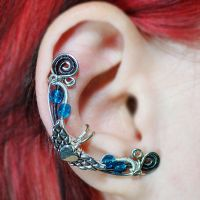 Winged Heart Fairy Ear Cuff with Blue Beads by sylva