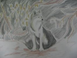wolf painting by Yilia-the-pale-wolf