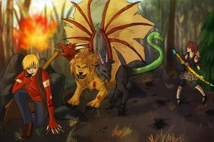 Selah and Edel Vs. Chimera by l-Ataraxia-l