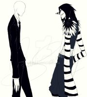 Slenderman vs Laughing Jack by Okamisai