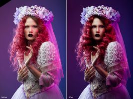 Before after retouch of woman in antique dress by Kri3X
