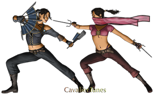 Kitana vs. Mileena by CavalierTunes