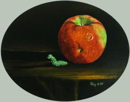 Apple with Worm Figurine by hank1