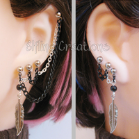 Black and Silver Feather Connecting Chain Earrings by merigreenleaf