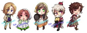 Hetalia Keychains group3 by T3hb33