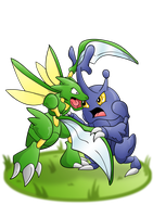 Scyther-vs-Heracross by Gnarlee