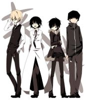 Shizuo, Shinra, Izaya, And Dotachin by teddybearshooter