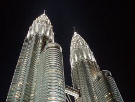 Malaysia Twin Towers At Night by not-like-that