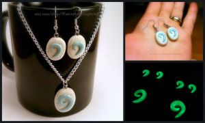 Glow in the Dark Hearthstone Earrings and Necklace by Euphyley