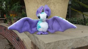 White Floral Bat Plush by volt-runner