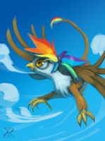 Rainbow Feather Flying by Raikoh-illust by Q99