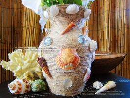 Tropical Flower Glass Vase Sea Shells by cardiae