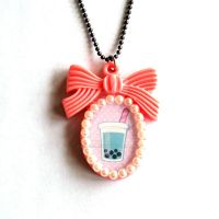 Bubble Tea Cameo Necklace by FatallyFeminine