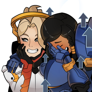 Overwatch, Mercy and Pharah by SplashBrush