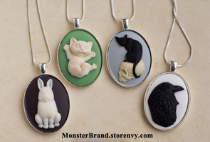 Cute Animal Cameo Necklaces by foowahu-etsy