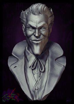 joKeR -Bust Sculpture- Clay render (2014 version) by LiamGolden