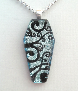 Silver Spirals Coffin Pendant by HoneyCatJewelry