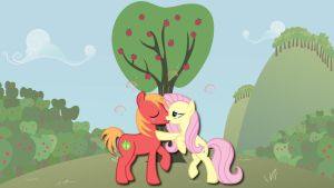 Wallpaper Mac and Fluttershy kiss by Barrfind
