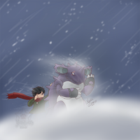 Challenging the blizzard by TheNekoStar