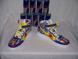 Red Bull Custom AF1s by cxcdrummer
