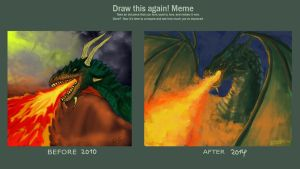 Draw This Again Meme - Dragon in fire by Shyralon