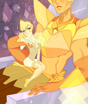 yellow diamond and yellow pearl by dongoverlord