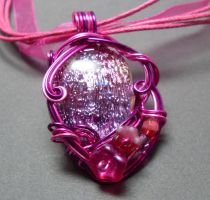 Fae Glamour Dichroic Glass Necklace in Fuschia by sojourncuriosities