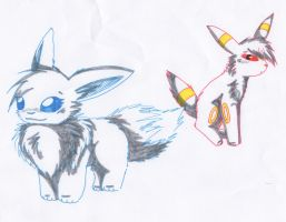 Eevee and Umbreon by Snowstorm102