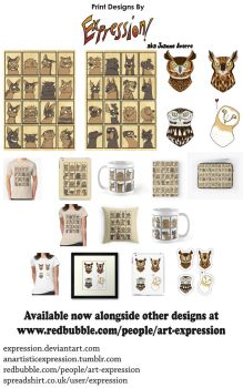 Prints: Cats, Dogs and Owls by Expression