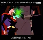 Superman v Batman Rock Paper Scissors by Aradrath