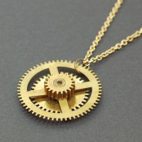 Steampunk Necklace Brass Gear Jewelry by Tanith-Rohe