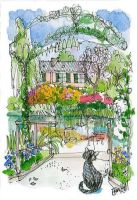 Milo-the-cat-at-monets-garden-drawing by keira5
