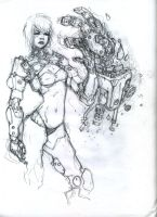 Babe with big mecha arm thing by DMBoyleDesign