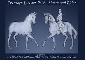 FREE Lineart - Dressage + Rider and Tack by Darya87