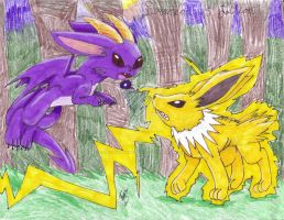 Draceon VS Jolteon by MistrissTheHedgehog