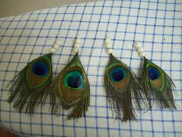 Peacock Earrings #1 by SupernovaSword