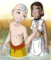Aang and Katara + Background by amiraink
