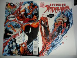 carnage, venom vs spidey sketch cover by kourmpamp