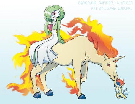 Pokemon Drawz Day 8: Gardevoir Rapidash and Keldeo by OgawaBurukku